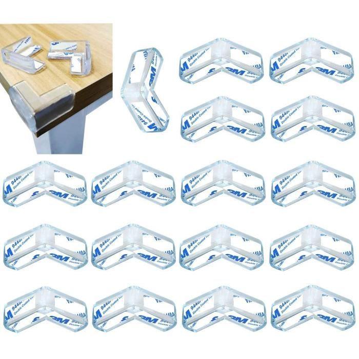20 Pièces Protection Coin de Table, Protection Meuble Bébé, Protection Angle Meuble avec adhésif renforcé pour (L Forme)