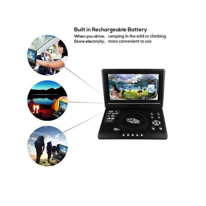 Dss-Lecteur DVD Rotatif 9 pouces Portable LCD grand écran DVD lecteur vidéo FM Radio jeu SD USB AV CD EU Plug