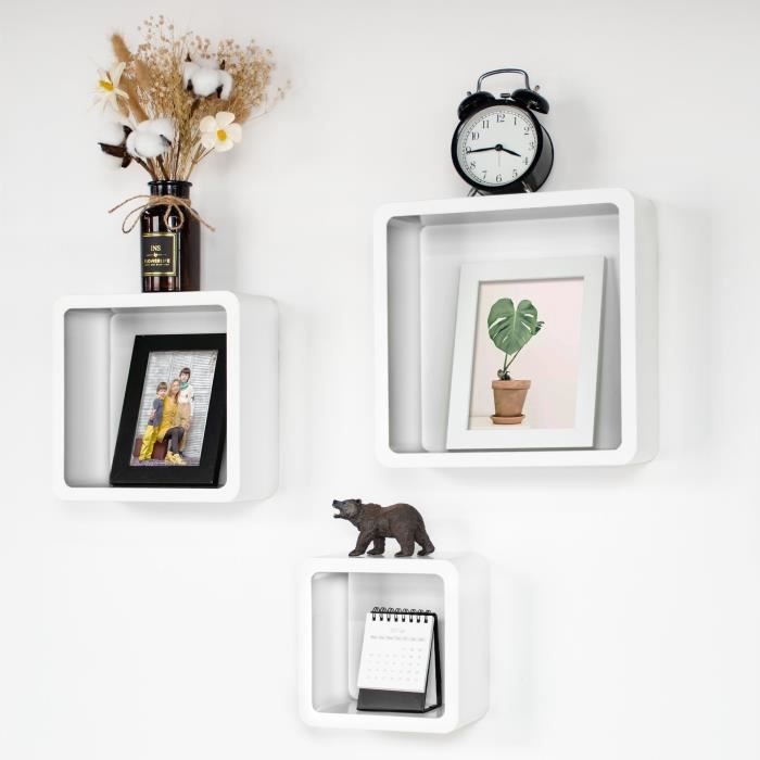 Ezigoo Lot de 3 etagères murales Cube Blanc. Etagères flottantes Cube pour Le Stockage de Livres, Films, CD
