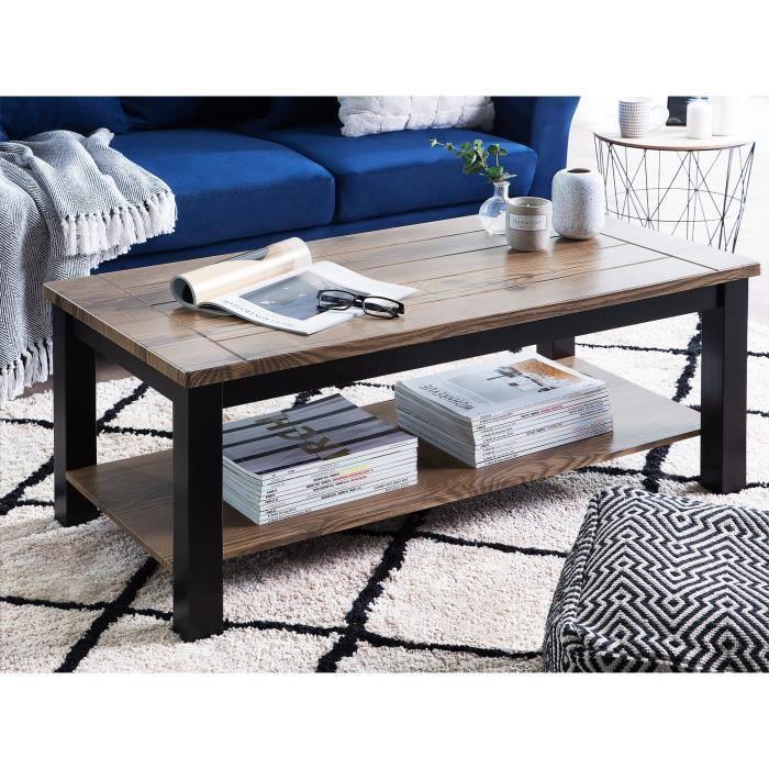 Table basse en bois foncé et noir AVOCA