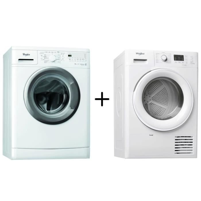 WHIRLPOOL - AWOD2928.1 - Machine à laver frontale - 9 kg + WHIRLPOOL - FTM1081FR - Sèche linge - 8 Kg - A+ - Blanc