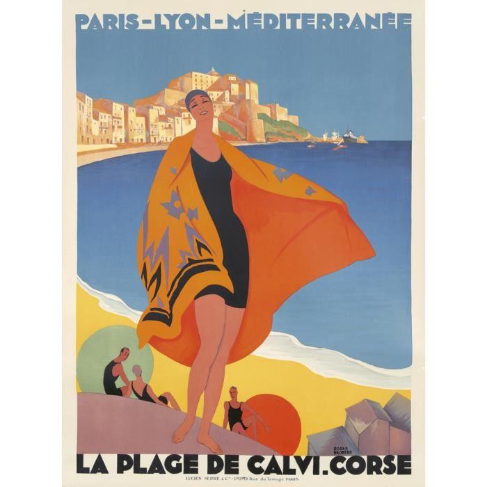 Poster Affiche Calvi Corse Affiche Poster Vintage Voyage Art Deco 30's 42cm x 56cm