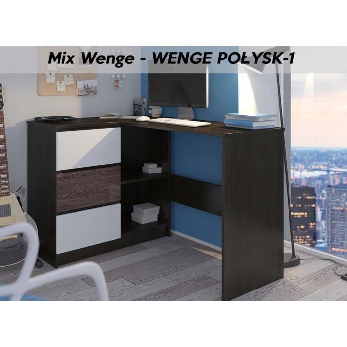 KIAN W - Bureau d'angle + rangements + 3 tiroirs - 112x87x76 cm - Table d'ordinateur portable forme de L - Blanc Wengé