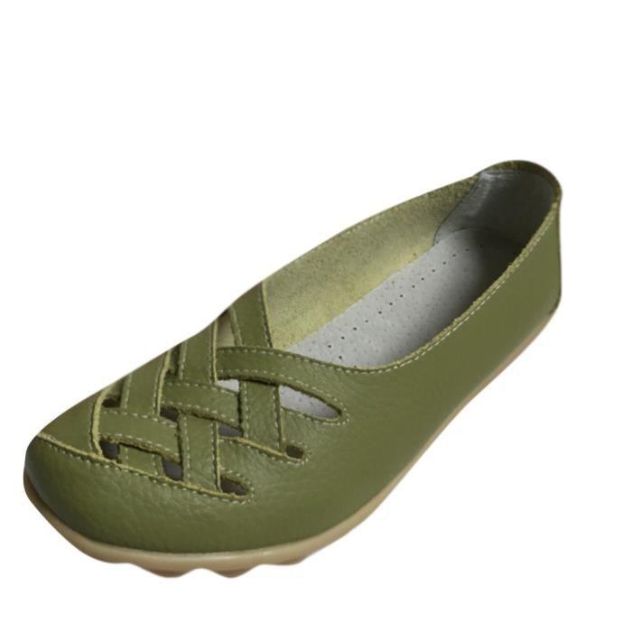 Chaussures Femmes ete Loafer Ultra Leger plate Chaussures BLKG-XZ053Vert35