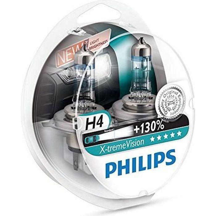 Pack de 2 Ampoules H4 Philips X-treme Vision +130% (Nouveau !)