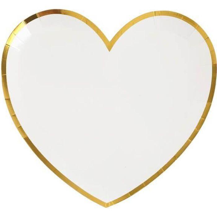 Assiette coeur blanche et dorée métallisée (x10) R/6811 Matière carton