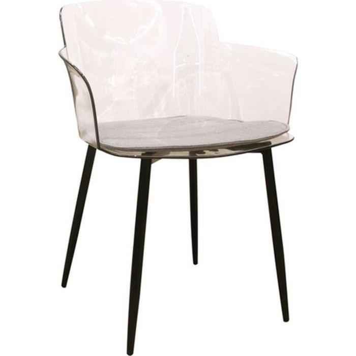 Fauteuil de table design transparent Lilia - Noir