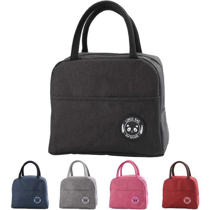 Sac Isotherme Repas Bureau Lunch Bag Sac de Transport Repas Pique-Nique Sac de Poche Toile Imperméable isol,Noir