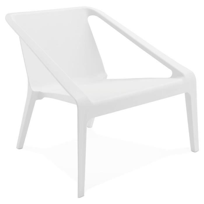 FAUTEUIL Fauteuil lounge de jardin 'SUNNY' blanc en matière