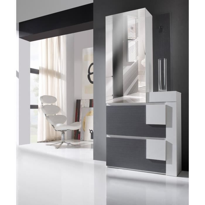 meuble d 39 entr e cendre blanc armoire kamilia l 90 x l 30 x h 199 cm achat vente meuble. Black Bedroom Furniture Sets. Home Design Ideas