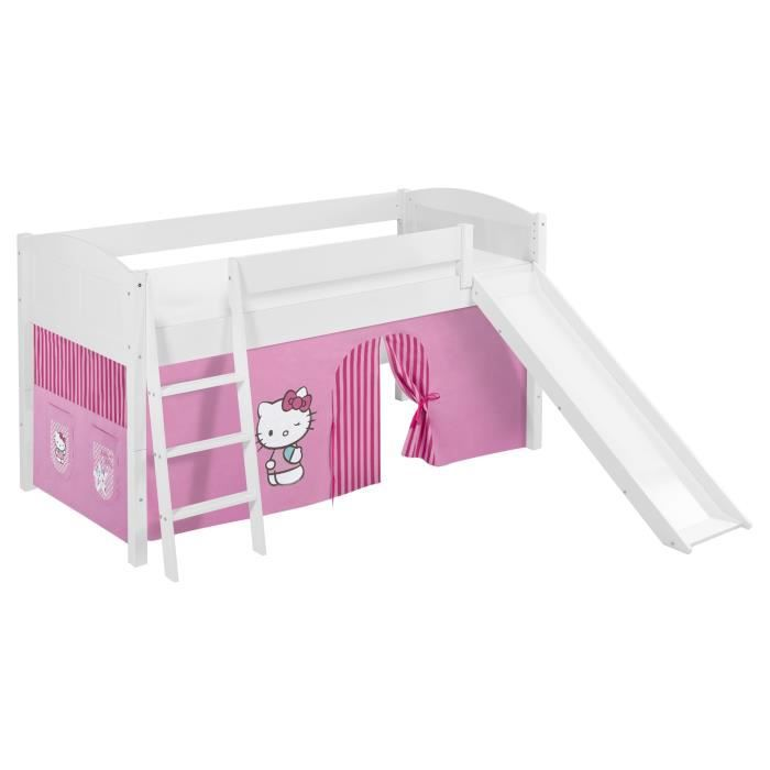 lit sur lev ludique volutif ida 4106 hello kitty rose avec rideaux et toboggan lilokids. Black Bedroom Furniture Sets. Home Design Ideas