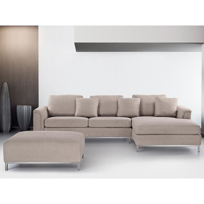 canap d 39 angle canap en tissu beige sofa oslo achat. Black Bedroom Furniture Sets. Home Design Ideas