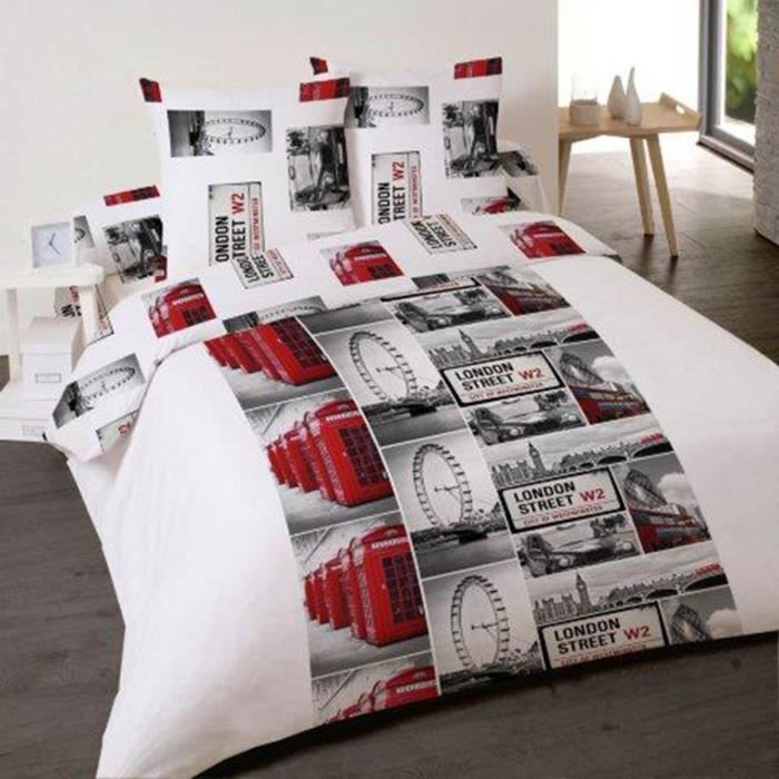housse de couette london street 140x200cm avec achat vente housse de couette cdiscount. Black Bedroom Furniture Sets. Home Design Ideas