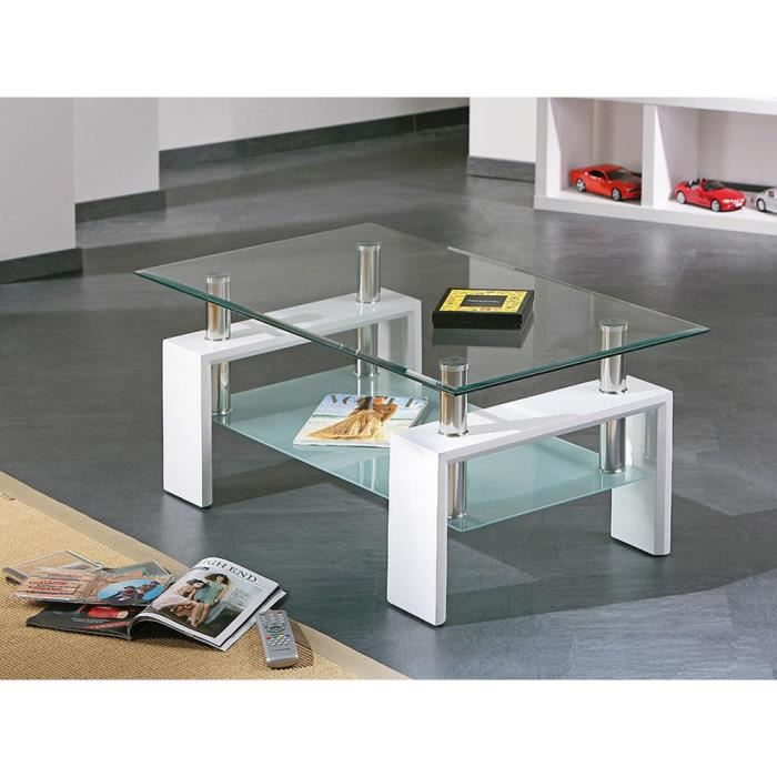 Table basse camillia plateau en verre blanc l achat vente table bass - Table basse verre blanc ...