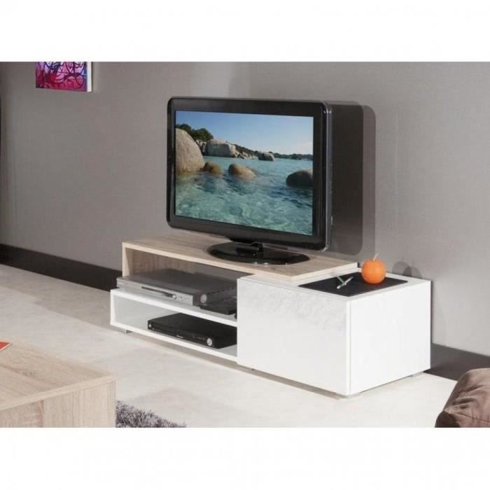 Pacific meuble tv couleur blanc laqu brillant achat for Meuble blanc laque brillant