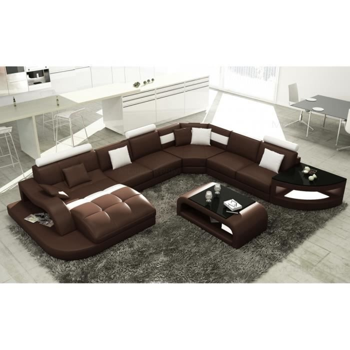 canap d 39 angle en cuir italien 8 places nordik et achat vente canap sofa divan. Black Bedroom Furniture Sets. Home Design Ideas