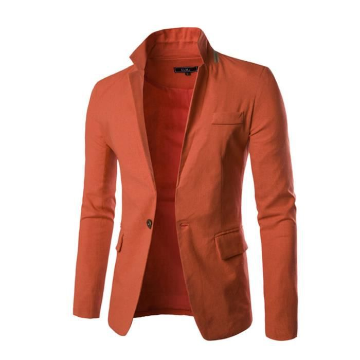 veste de costume homme l ger lin et coton casual mode orange achat vente veste cdiscount. Black Bedroom Furniture Sets. Home Design Ideas