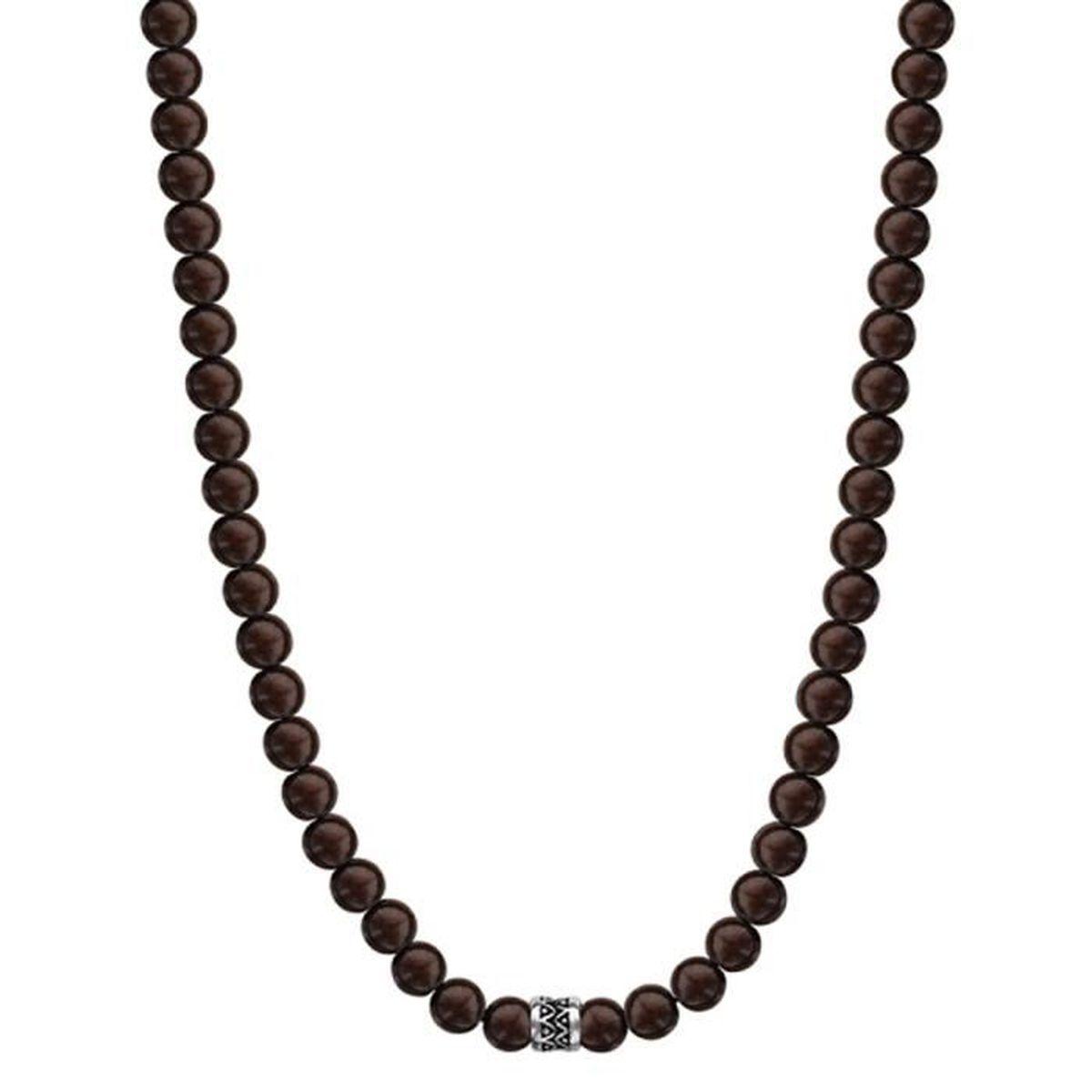 collier perle de bois homme