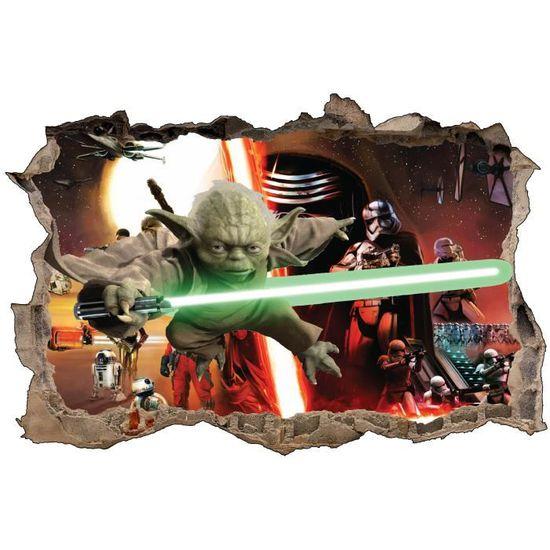 Stickers 3D trompe l/'oeil Star Wars Yoda réf 23218 23218