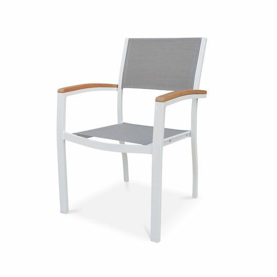 Salon de jardin en bois et aluminium Sevilla, grande table 200-250cm  rectangulaire, 8 fauteuils eucalyptus
