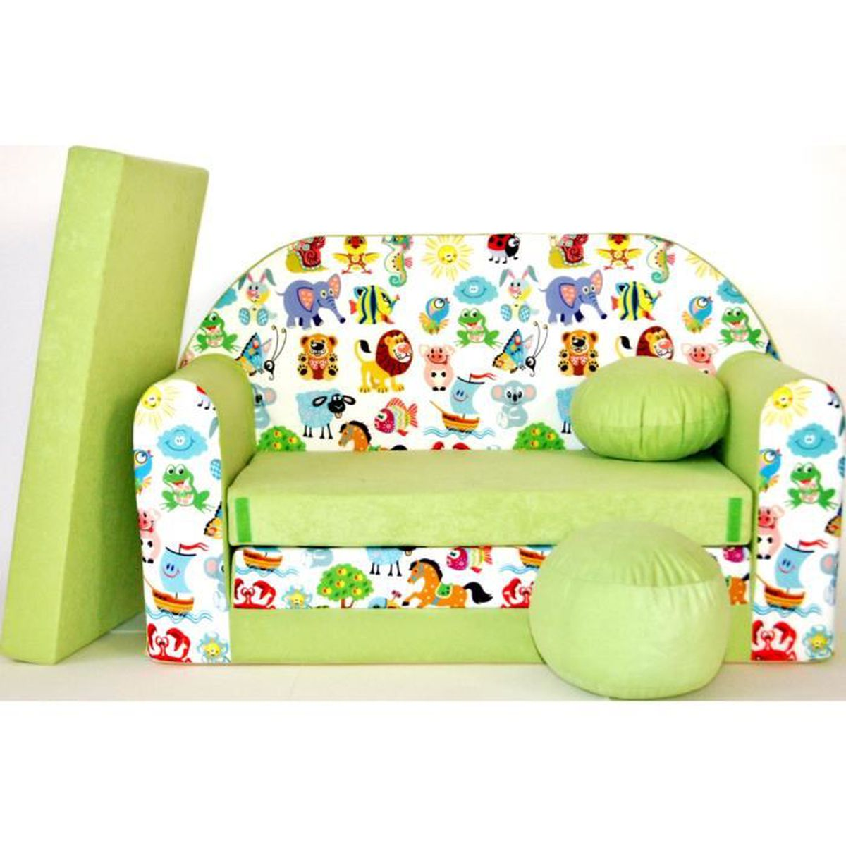 Canape sofa enfant 2 places convertible animaux vert for Canape enfant 2 places