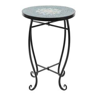 TABLE D'APPOINT Table ronde en  Vert mosaïque 52 * 35 * 35 cm - 20