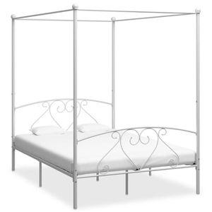 STRUCTURE DE LIT Cadre de lit à baldaquin Blanc Métal 140 x 200 cm