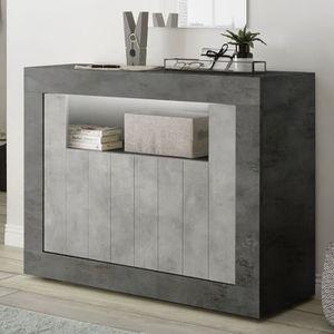 BUFFET - BAHUT  Petit buffet 110 cm gris moderne effet béton URBAN