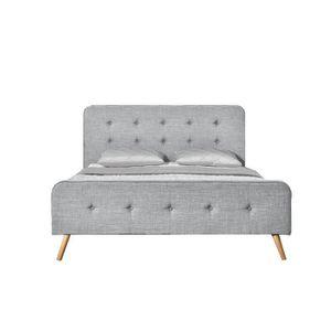 STRUCTURE DE LIT Lit Lanka - Cadre de lit scandinave gris clair ave