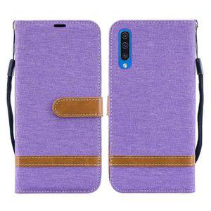 Coque pour Samsung Galaxy A50Rouge Élégant PU Cuir Flip Poignet Wallet Case Antichoc Protection Bumper
