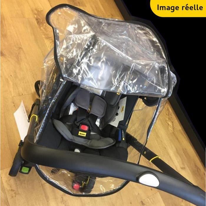 Habillage Pluie à Fermeture Éclair Pour Doona Plastique Cristal Aéré & Épais 250 Microns Norme EN 71 - Accessoire Poussette Doona