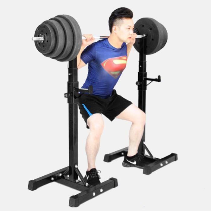 RACK DE RANGEMENT SUPPORT Repose Barre Musculation Support pour Haltères Réglable en Hauteur 15 Positions Noir