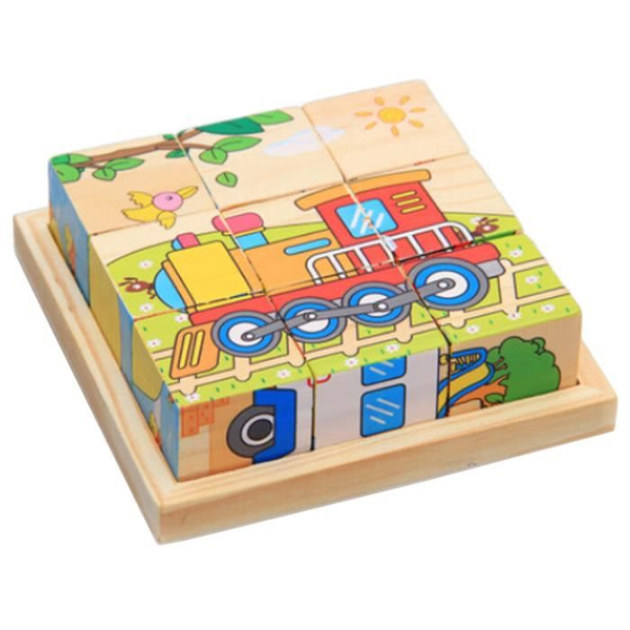 Jouets 3D Puzzle en bois jouet éducatif puzzle cube de voitures d'enfants