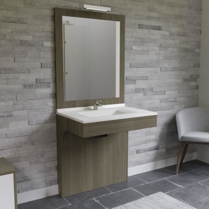 ALTEA Ensemble meuble de salle de bain double vasque avec LED et miroir L 80 cm - Décor coimbra souris