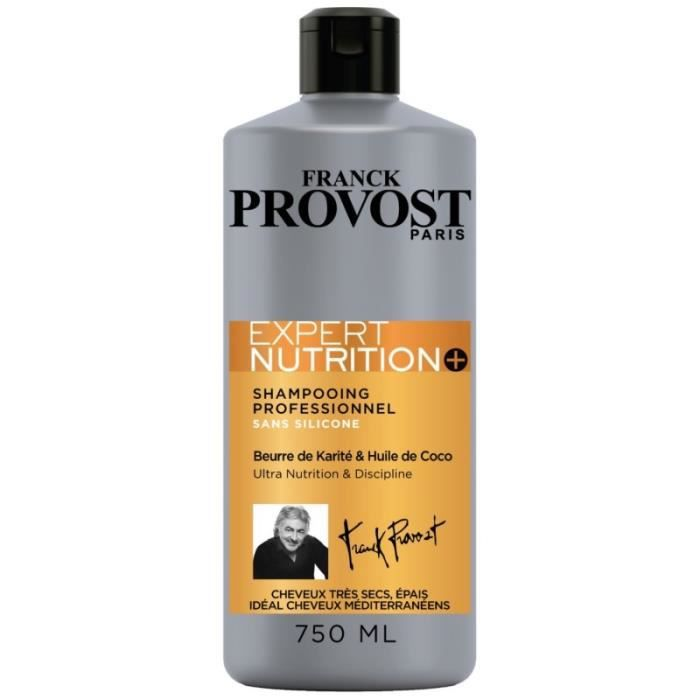 Franck Provost Shampooing Professionnel Expert Nutrition+ au Beurre de Karité & Huile de Coco 750ml
