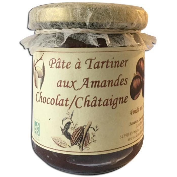 Pâte à tartiner Bio amandes chocolat châtaigne 210g Les Jardins du Salvet