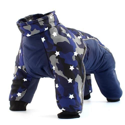 Manteau Blouson,Manteau d'hiver pour chien manteaux vêtements chauds petit chiot vêtements pour bouledogue français - Type Bleu-S