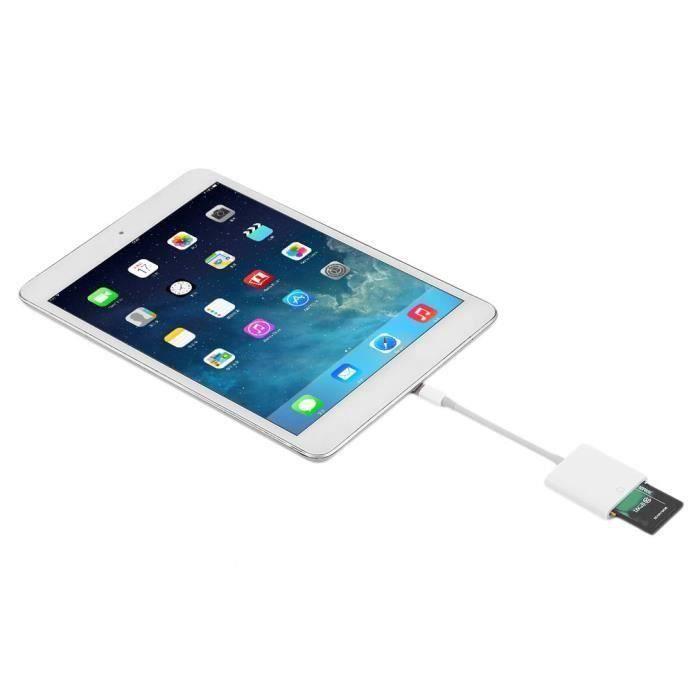 Lecteur de carte SD Adaptateur Port vers carte mémoire SD pour iPhone Mini médias iPad Blanc~CC9756