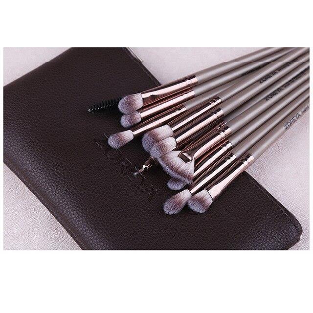 Pinceau de maquillage fard à paupières mélange cosmétique outil avec sac de maquillage ZOREYA 12 pièces Pro kit de pinceaux de