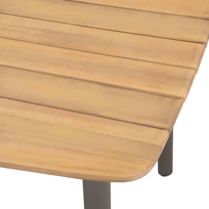 Haute qualité Table de jardin - Table d'appoint Table de reception 80 x 80 x 72 cm Bois d'acacia solide et acier *519190