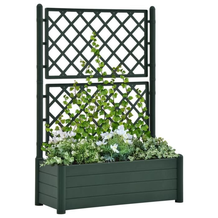 EXPERT 💦Scandinave- Jardinière avec treillis Extérieur Balcon - Lit surélevé de jardin - Bac à fleurs plantes Décoration Jard1839