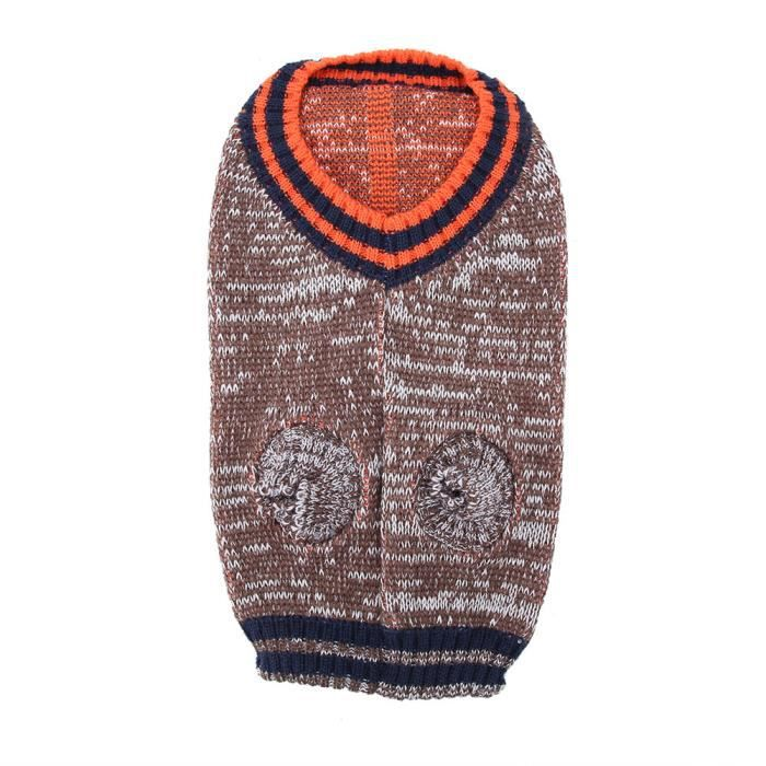 Qiilu Pull pour chiens de compagnie Vêtements de manteau d'hiver de chandail tricoté de chiens de compagnie mignons gardent au