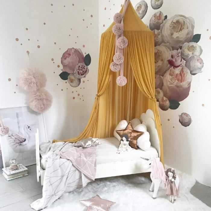 Ciel de lit pour bébé en mousseline de soie Rose 288