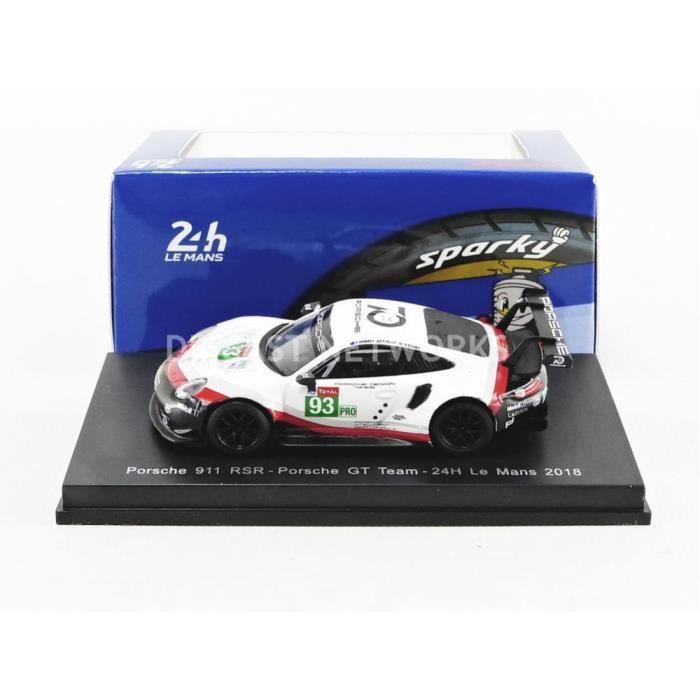 Voiture Miniature de Collection - SPARKY 1/64 - PORSCHE 911 RSR - Le Mans 2018 - Black / White / Red - Y123
