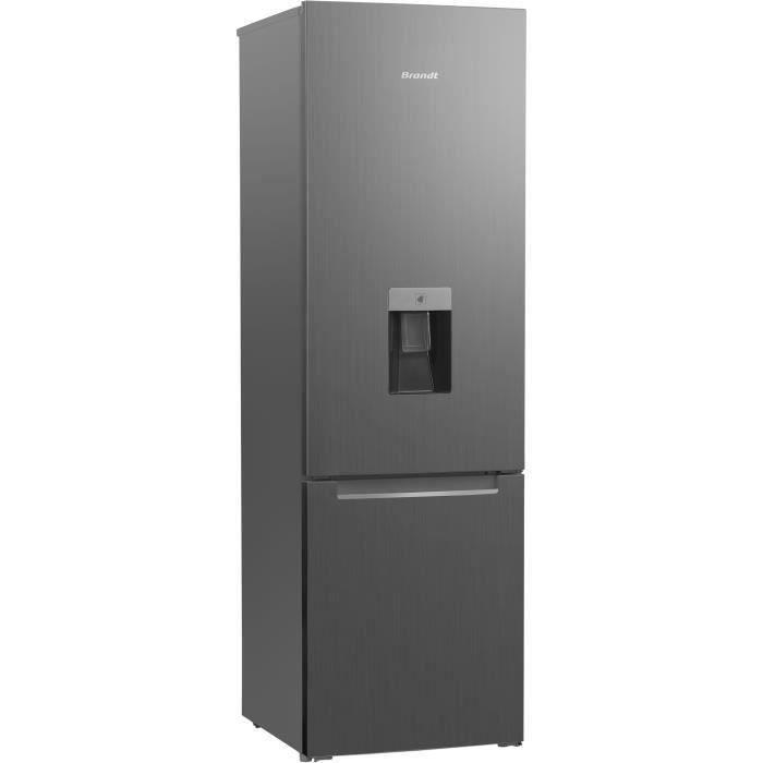 BRANDT - BFC7527XD - Réfrigérateur combiné - Pose libre - 260 L (195+65) - Froid statique - 181,1x57,5x60,5 cm - Gris acier