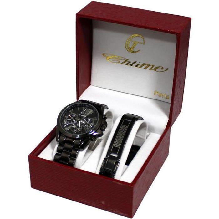 coffret cadeau montre homme et gourmette acier inoxydable black collection