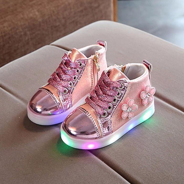 Enfants bébé filles cristal floral a mené des chaussures de bottes sport course lumineuses NO1085