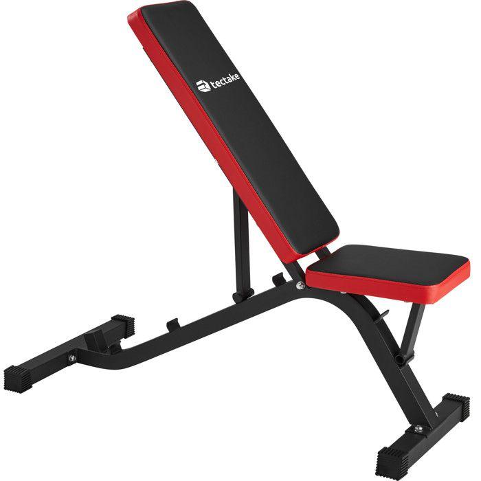 TECTAKE Banc de Musculation pour Abdominaux Réglable en hauteur 116 cm x 51 cm x 122 cm Noir Rouge