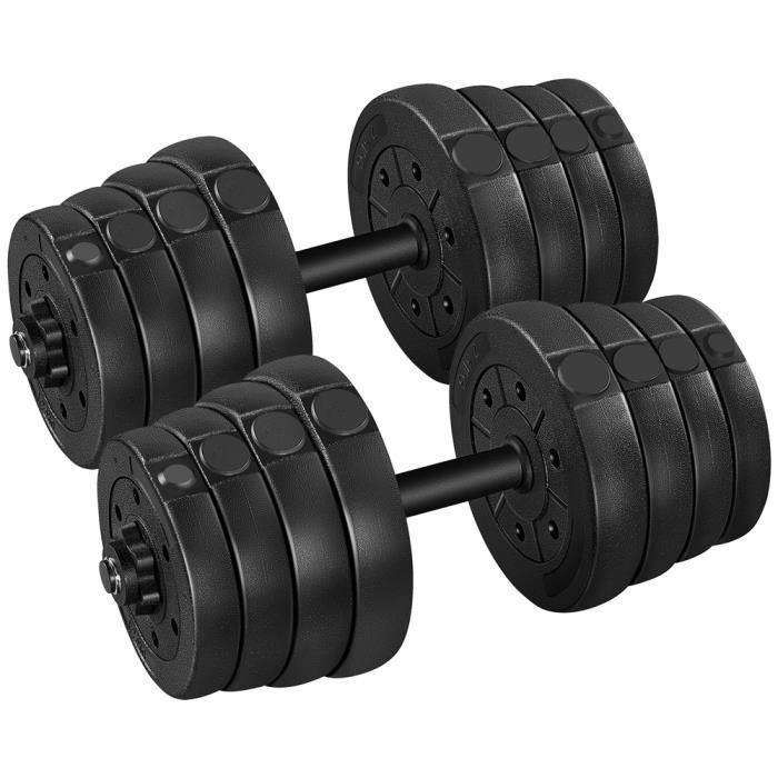 Kit 20kg haltères courtes - barres réglables - entraînement musculaire