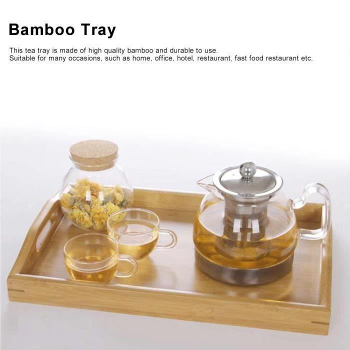 10,43 x 5,08 x 0,71 pouces Plateau /à th/é Plaque de tasse en bambou Nourriture Bar /à desserts Plateau de service pour le petit d/éjeuner Accessoires de th/é Kung Fu Table /à th/é en forme de livre